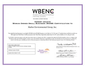 Woman Owned Small Business (WOSB) Certification for 2019